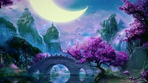 Artistic Asian Bridge Crescent Fantasy Flower Landscape Moon Mountain River Tree Waterfall 2000x1600 Wallpaper