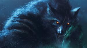 Zsolt Kosa Werewolves Digital Art Open Mouth Creature Orange Eyes Fantasy Art Werewolf Wolf Scars Ar 1920x1080 wallpaper