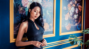 Asian Model Women Long Hair Dark Hair Wall Leaning Black Dress Closed Eyes Plants Depth Of Field 3840x2560 Wallpaper