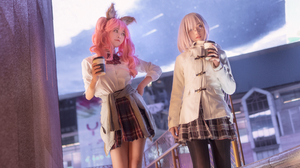 Asian Pink Hair Long Hair Coffee Outdoors Slim Body Cosplay Shika XiaoLu 2688x4032 wallpaper