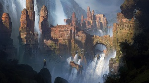 Arch City Waterfall 1920x1080 Wallpaper