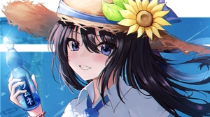 Dark Hair Blue Eyes Sunflowers Straw Hat Long Hair Bracelets Water Bottle Birds White Shirt Tie Grin 2304x2510 Wallpaper
