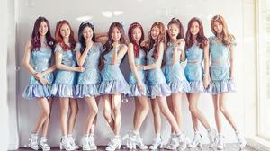 Woman Singer Asian K Pop Korean Redhead Brunette Black Hair Brown Eyes Smile Blue Dress Skirt Girl B 1920x1080 wallpaper