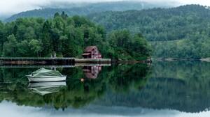 Boat Lake Reflection Greenery 1920x1080 wallpaper