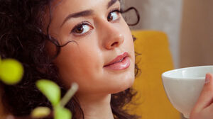 Women Brunette Living Rooms Couch Tea Short Hair Plants Face Eyes Nose Mouth Curtains 5616x3744 Wallpaper