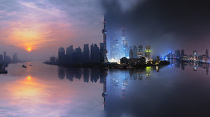 Building China City Night Reflection Shanghai Skyscraper 2048x1387 Wallpaper