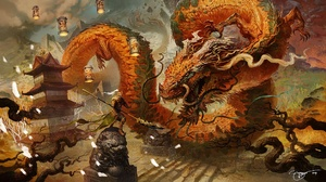 Warrior Pagoda Battle Chinese Dragon 1920x1086 Wallpaper