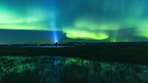 Aurora Borealis Man Night Norway Sky Stars 3840x2160 wallpaper