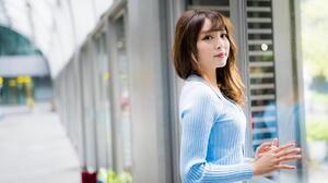 Asian Model Women Long Hair Dark Hair Depth Of Field Pullover Hallway Window White Skirt 1920x1280 Wallpaper