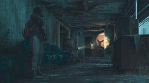 Girl Night Robot Deer 2560x1280 Wallpaper