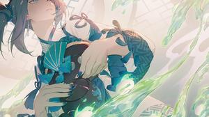 Anime Anime Girls Long Nails Blue Nails Tea Pot Earring Looking Away Teaceremony Grey Hair Japanese  3057x1924 Wallpaper