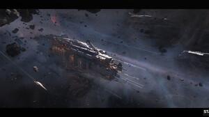Oleksiy Rysyuk Artwork Space Spaceship Vehicle Digital Art ArtStation Science Fiction 3840x1818 Wallpaper