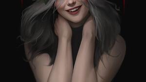 Ilya Ozornin Roses Flower Crown Crown Flower In Hair CROWNED Rose Smiling Fangs Vampires Portrait Di 1920x2717 Wallpaper