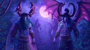 Artwork Fantasy Art Moon Horns Wings Illidan Stormrage Malfurion Warcraft 1920x1080 Wallpaper