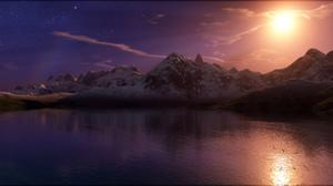 3d Landscape Moon Mountain Night Sea Water 1920x1200 wallpaper