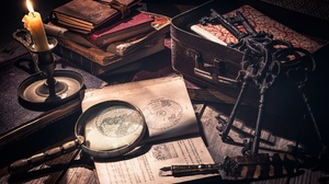 Magnifying Glass Candle Book Key Pen 2047x1365 wallpaper