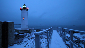 Blue Bridge Building Christmas Lights Lighthouse Ocean Sea Walkway 2048x1361 Wallpaper