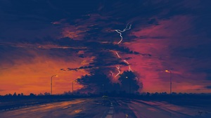 Digital Art Sunset Rain Sky Clouds BisBiswas 1920x1080 wallpaper