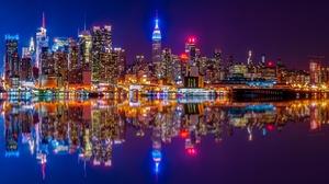 Building City Hudson River Manhattan Night Reflection River Skyscraper Usa 1920x1080 Wallpaper