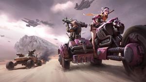 Wenfei Ye Drawing Wasteland Space Shuttle Bikes Motorcycle Pink Hair Bazookas Fighting Pink Weapon S 1920x952 wallpaper