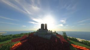 Sunset Sunrise Minecraft Shaders Video Games Screen Shot Landscape Portal 2053x1155 Wallpaper