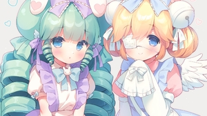 Anime Artwork Digital Art Anime Girls Looking At Viewer Green Hair Blonde Blue Eyes Twintails Buns B 2500x1768 Wallpaper