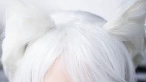 Women Model Cosplay Eyes White Hair Long Hair Women Indoors Hanekawa Tsubasa 1333x2000 wallpaper