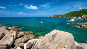 Boat Hin Wong Bay Horizon Ocean Rock Sea Thailand Turquoise Vehicle 1920x1080 Wallpaper