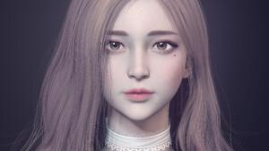 3D Render CGi Women Face Portrait Lipstick Long Hair Asian JD Styles 2500x2500 Wallpaper
