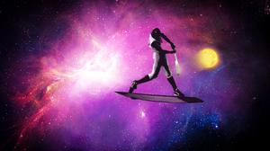 Surfing Sun Space Baseball Pink Artwork Space Art Digital Art 2436x1565 Wallpaper