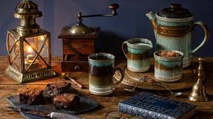 Book Brownie Coffee Lantern Mug Still Life 5184x3456 Wallpaper