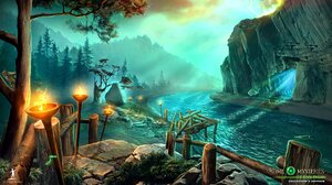 Cave Dock Path River Time Mysteries Torch Tree 1920x1080 Wallpaper