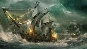 Fire Lightning Ocean Rain Ship Storm Wave 2174x1080 Wallpaper