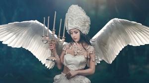 Girl Wings Candle Asian Headdress Model Black Hair 2381x1080 wallpaper