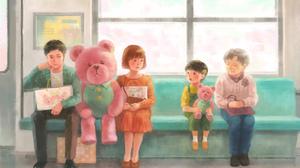 Teddy Bear Train Window 3000x1973 Wallpaper