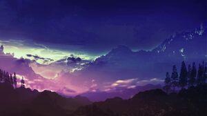 Blue Purple Mountains Sky 2048x1152 Wallpaper
