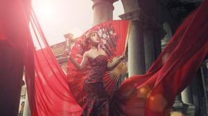 Asian Dress Earrings Fan Girl Model Sunny Woman 2048x1365 Wallpaper