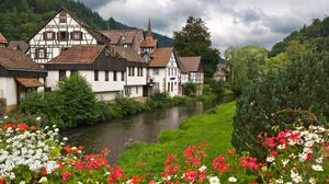 Canal Flower Germany Green House Spring Tree Village 2508x1672 Wallpaper