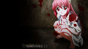 Elfen Lied Lucy Innocence Anime Anime Girls Pink Hair Long Hair Bangs Red Eyes White Shirt Horns Art 1441x900 wallpaper