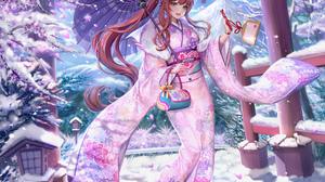 Monika Doki Doki Literature Club Doki Doki Literature Club Kimono Brunette Ponytail Green Eyes Umbre 2000x2120 Wallpaper