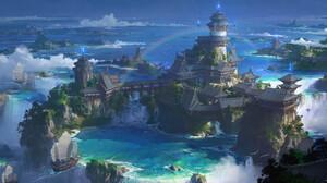 Lok Du Fantasy Architecture Fantasy Art Digital Art Island 1920x1007 wallpaper