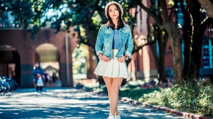 Asian Model Women Long Hair Brunette Depth Of Field White Skirt Jeans Jacket Blue Shirt Berets Sneak 3840x2561 Wallpaper