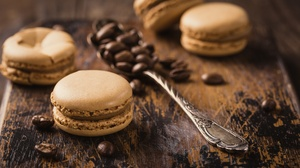 Coffee Beans Depth Of Field Macaron Spoon Still Life Sweets 5760x3840 Wallpaper