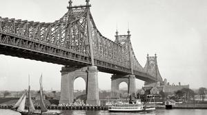 Ship Photography Water Monochrome Bridge Sailing Ship Old Photos New York City Queensboro Bridge USA 1920x1080 Wallpaper