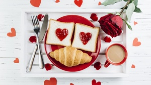 Bread Breakfast Coffee Croissant Rose Still Life 5647x3765 Wallpaper