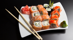 Chopsticks Fish Rice Seafood Sushi 5116x3411 Wallpaper