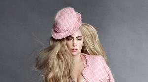 American Blonde Hat Hazel Eyes Lady Gaga Singer 3492x1964 wallpaper