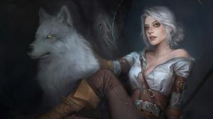 Ciri The Witcher Wolf White Hair 3840x2160 wallpaper