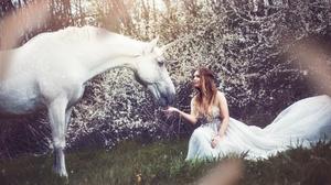Women Model Unicorn Animals Dress White Dress Women Outdoors Horse Fantasy Girl Flowers Brunette 2048x1152 Wallpaper