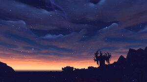 Night Stars Nature Sunset 1920x1200 Wallpaper